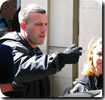 Ben Affleck filming scenes for his heist film 'The Town'.