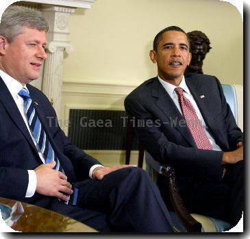 Prime Minister of Canada Stephen Harper and President Barack Obama President Barack Obama meets with PM of Canada Stephen Harper in the Oval Office of the White House Washington DC.