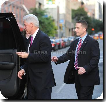 Former US President Bill Clinton outside Comedy Central studios after an appearance on 'The Daily Show with John Stewart' New York City.