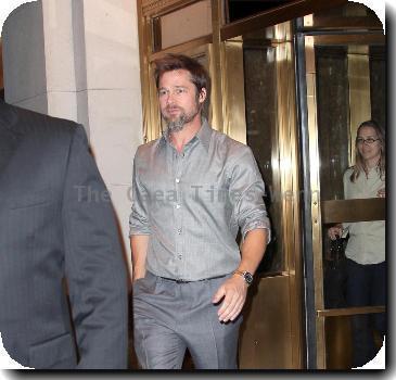 Brad Pitt departs his hotel New York City.