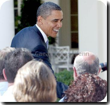 President Barack Obama  speaks with doctors from all over the country who are joining him in pushing for health insurance reform in the Rose Garden of the White House.