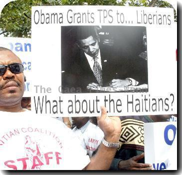 Atmosphere Protesters rally outside the White House for President Barack Obama to reverse Temporary Protected Status (TPS) legislation to Haitian immigrants living semi-openly in the US Washington DC.