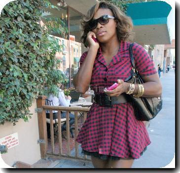 Serena Williams walking along Bedford Street in Beverly Hills while talking on her cell phone Los Angeles.