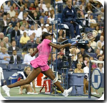 Venus Williams from the USA in action during her match against Vera Dushevina from Russia during the first round of the US Open at the USTA Billie Jean King National Tennis Center in New York, USA on,August 31, 2009. Williams went on to win the match 6-7, 7-5,.