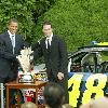 President Barack Obama welcomes NASCAR drivers to the South Lawn at the White House.