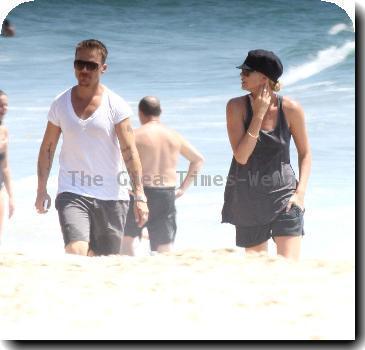 Charlize Theron enjoying a day at Malibu Beach with friends.