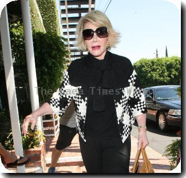 Joan Rivers, carrying a tan Hermes handbag, arrives at Fred Segal for lunchLos Angeles.
