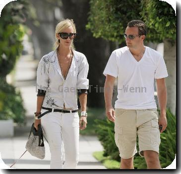 Lady Victoria Hervey takes her dogs for a walk with a friend in West Hollywood..