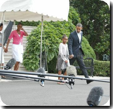 President Barack Obama, with daughter Sasha Obamaleaving the White House to talk about health care at the President'sTown Hall in MontanaWashington DC.