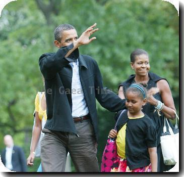 President Barack Obama, daughter Sasha Obama and wife