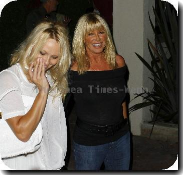 Pamela Anderson and Suzanne Somers leave Nobu restaurant together in Malibu after having dinner.Los Angeles, California.