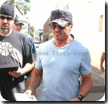 Sylvester Stallone at Le Grand Passage Cafe Roma with friends.  The American actor arrived and left in his new customised car.Los Angeles.