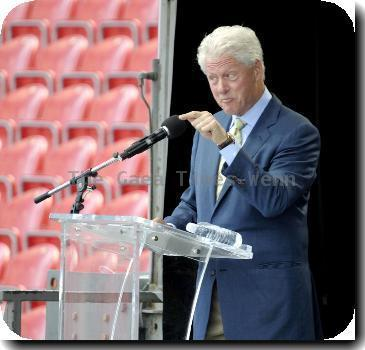 Former US President Bill Clinton speaks at the Canadian National Exhibition.Toronto.