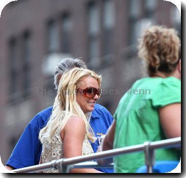 Britney Spears riding a CitySights NY tour bus with her dancers around Manhattan - she is in town for a series on concerts at Madison Square GardenNew York City.