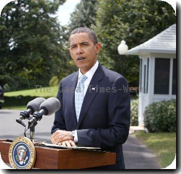 President Barack Obama speaks briefly on Afghanistan and the release of the Lockerbie bomber before leaving on vacation Washington DC, USA –