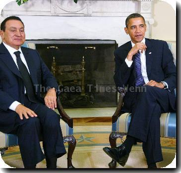 US President <b>Barack Obama</b> welcomes Egyptian President Hosni Mubarak