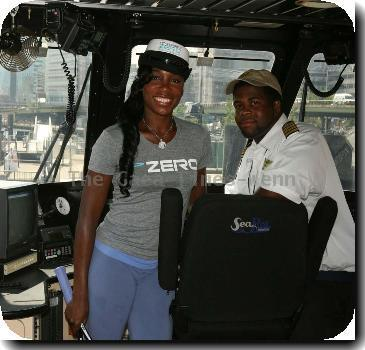 Venus Williams promotes the new sports drink and captains the maiden voyage of the 'Powerade Zero' ferry at the Water Taxi dock.New York City.
