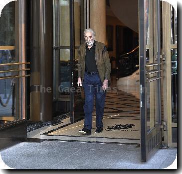 Christopher Lee leaving Ritz Carlton Hotel, looking fragile. Berlin.