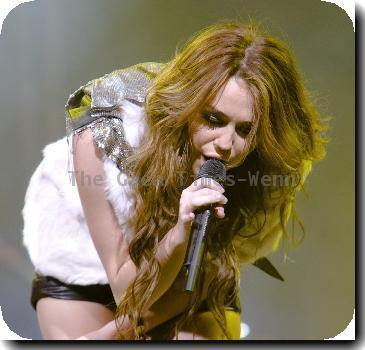 Miley Cyrus performs live in concert at the United Center Chicago.