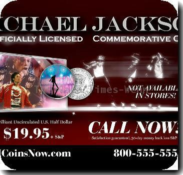 Ad for the limited edition Michael Jackson commemorative coin