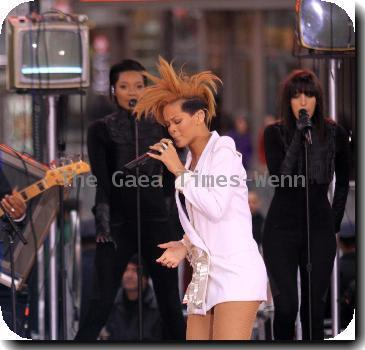 Rihanna performing live in concert on ABC?s ?Good Morning America? in Times Square New York City.