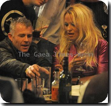**Exclusive** Pamela Anderson enjoys a few glasses of wine and a plate of chips at the Wibbas Down Inn, with close friend Vivienne Westwood. Tha pair were joined by the rest of the cast and crew from Pamela's pantomime 'Aladdin', and left just before midnight, signing autographs for some of the suprised locals as they exited the venue..