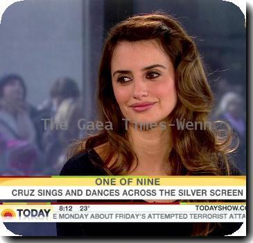 Penelope Cruz  promotes her new film 'Nine', for which she has been nominated for a Best Supporting Actress Golden Globe Award, on NBC 'Today' USA