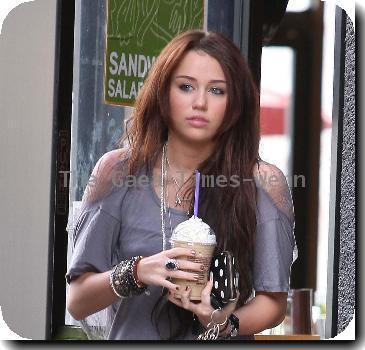 Miley Cyrus  stops at a Coffee Bean for an iced coffee in Beverly Hills..