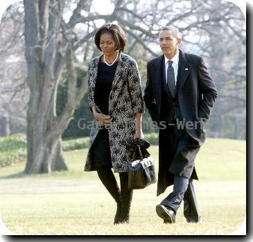 First Lady Michelle Obama and President Barack Obama  return to the White House from Delaware after attending the funeral for Joe Biden's mother, Jean, who died Friday (08Jan10) at age 92..
