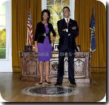 Barack Obama (Waxwork) A waxwork of Michelle Obama is unveiled at Madame Tussauds next to a waxwork of her husband US President Barack Obama. The First Lady joins the waxwork of her husband, US President Barack Obama, in the Setting of The Oval Office..