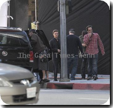Justin Timberlake taking some time out on the set of his new movie 'Social Network'Los Angeles.