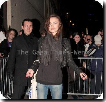 Keira Knightley leaving the Comedy Theatre after she performed in 'The Misanthrope' London.