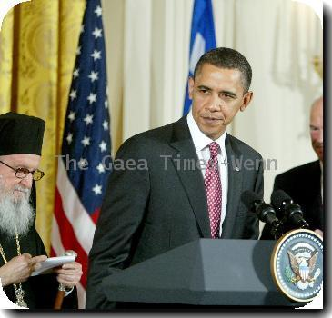 Archbishop Demetrios, US President Barack Obama and Prime Minister Papandreou of GreeceUS President Barack Obama speaks during an event celebrating Greek Independence Day in the East Room of the White House Washington DC.