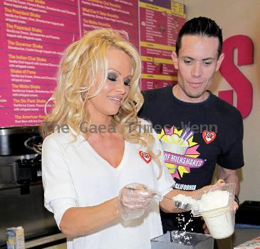 Pamela Anderson  launches her signature 'Vanilla Vegan Shake' at Millions of Milkshakes in West Hollywood. Los Angeles, California.