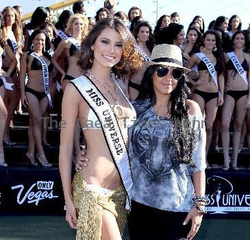 Stefania Fernandez, Miss Universe 2009-2010 Miss Universe contestant photo shoot at the 'Welcome to Las Vegas' sign on Las Vegas Boulevard Las Vegas.