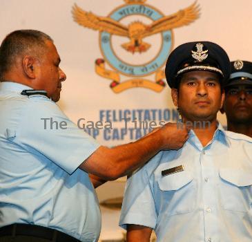 Sachin Tendulkar Honarary Rank of Group Captain conferred to Cricketer Sachin Tendulkar by Chief of Indian Air Force, Air Chief Marshal PV Naik in New Delhi. New Delhi.