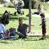 Heidi Klum (R), her father Gunther and her son Johan Riley enjoy the day at Coldwater Canyon Park.