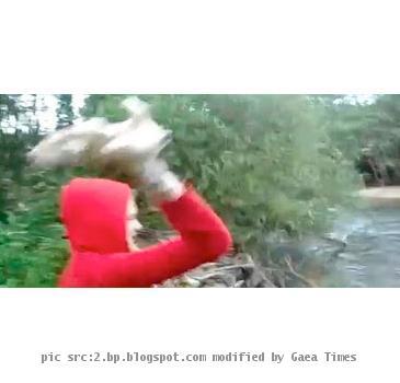 Girl throwing puppies