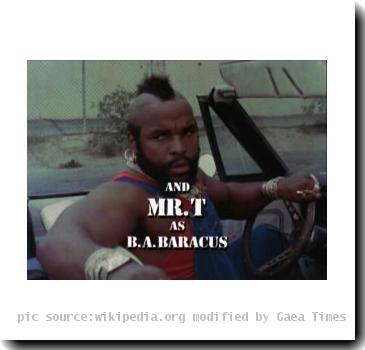 Screenshot from The A-Team opening sequence second season to depict the character of B.A. Baracus. Show owned by NBC. Originally aired on NBC. c Stephen J.