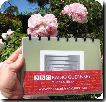 A promotional BBC Radio Guernsey windscreen sticker photographed in a Canberra garden.