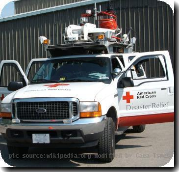 Red Cross ECRV Emergency Communications Response Vehicle, front view. Picture taken during training class.