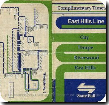 Source: www.geocities.com/nswrail Promo material - NSW State Rail East Hills Line timetable 1987