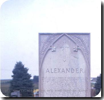 . Alexnder family tombstone in Syracuse, Nebraska, inscription by Hartley Burr Alexander and artwork by Lee Lawrie