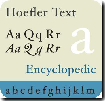 Specimen of the typeface Hoefler Text by Jim Hood
