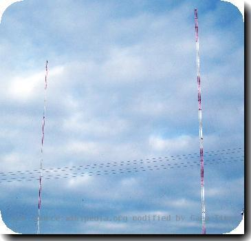 The towers for KCPW-AM right and KMRI left (February 2008)