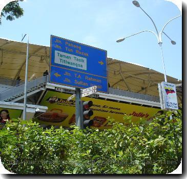 A typical roadsign in Kuala Lumpur, Malaysia.