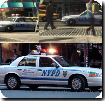 This file was made by me using images from the GTA IV trailer and Image:New_york_police_department_car.jpg. Its purpose is to compare the real life New York cars to the fictional New York in the videogame GTA4.