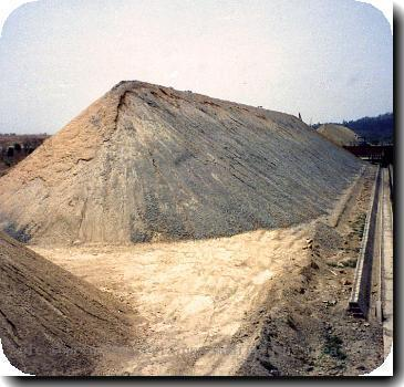 A prehomogenization pile used to blend limestone prior to use in making rawmix for cement manufacture