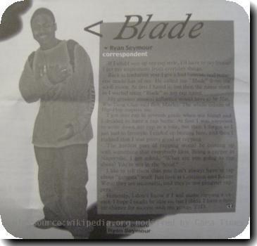 School newspaper article of Blade, now Sey.
