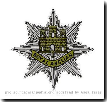 Cap Badge of the Royal Anglian Regiment coatofarms